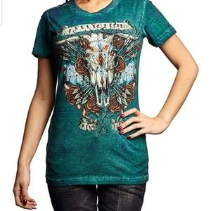 B2G1 Affliction Live Fast Stud Green Cow Skull Tee